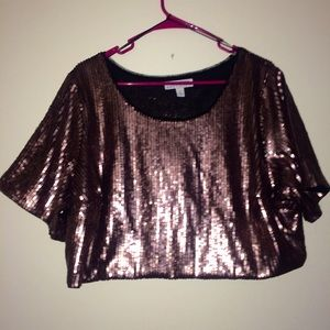 Matte Rose Gold Sequin crop top nwot